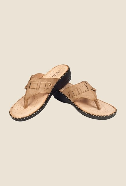 Khadim's Softouch Beige Wedge Heeled Sandals