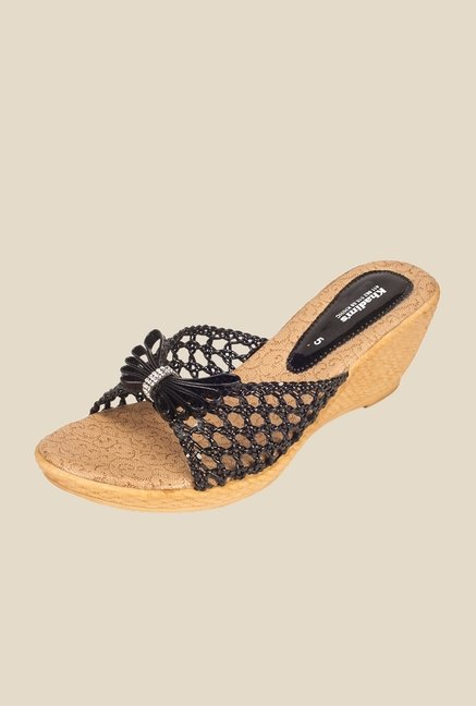 Khadim's Black Slide Wedge Sandals