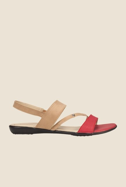 Khadim's Red & Beige Sling Back Sandals