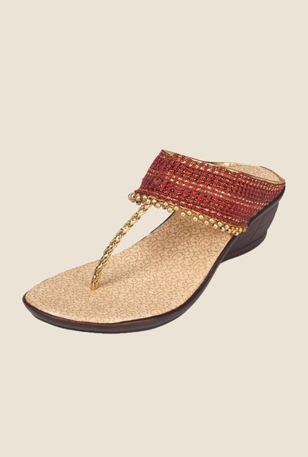Khadim's Red & Gold T-Strap Wedges