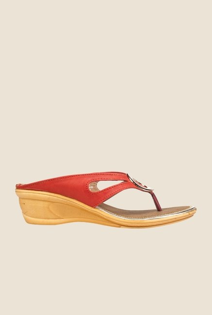 Khadim's Cleo Red & Golden Wedge Heeled Sandals