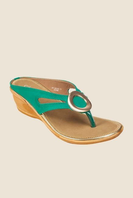 Khadim's Cleo Turquoise & Golden Thong Wedges