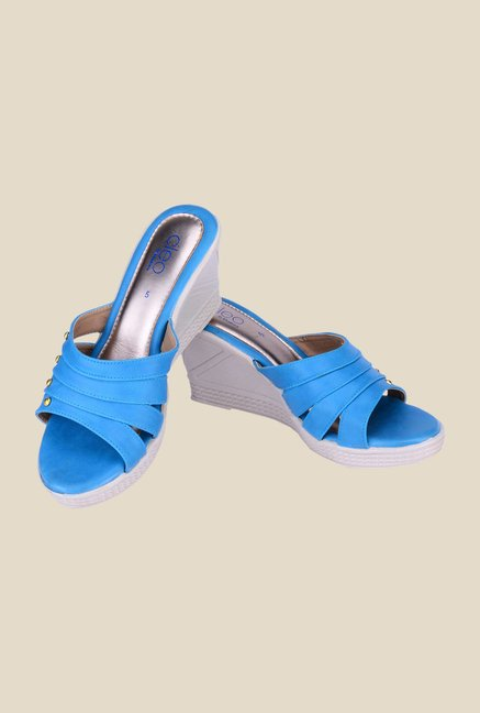 Khadim's Cleo Blue Wedge Heeled Sandals