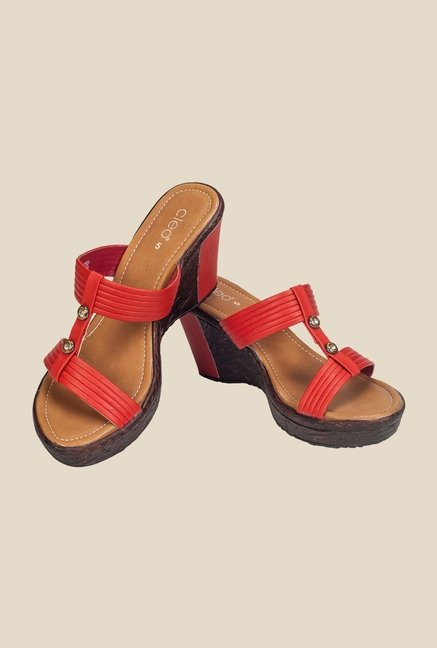 Khadim's Cleo Red Slide Wedges