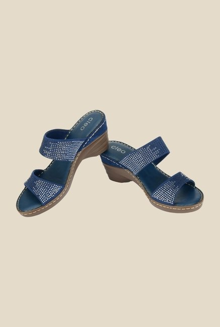 Khadim's Cleo Navy Wedge Heeled Sandals
