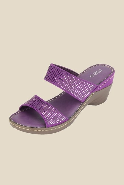 Khadim's Cleo Purple Wedge Heeled Sandals