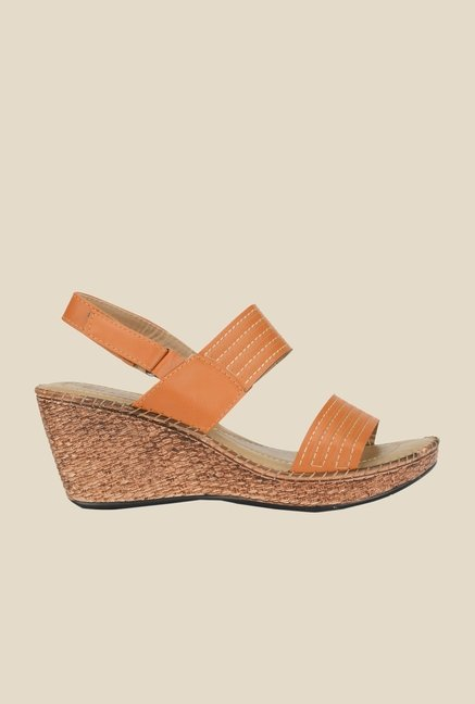 Khadim's Sharon Orange Back Strap Wedges