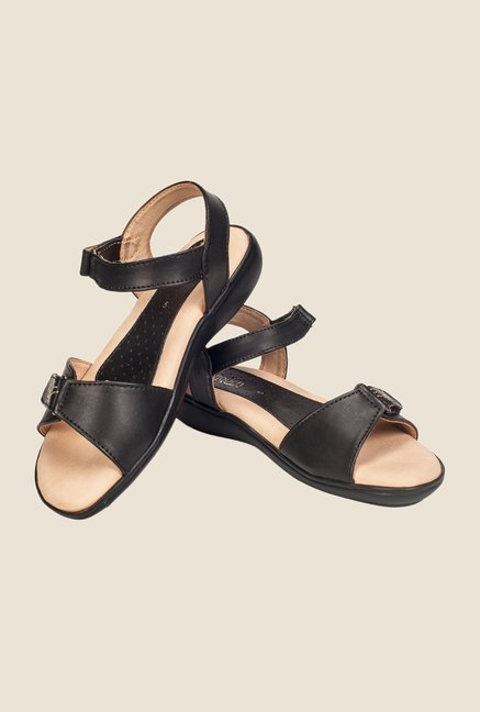 Khadim's Softouch Black Ankle Strap Wedges