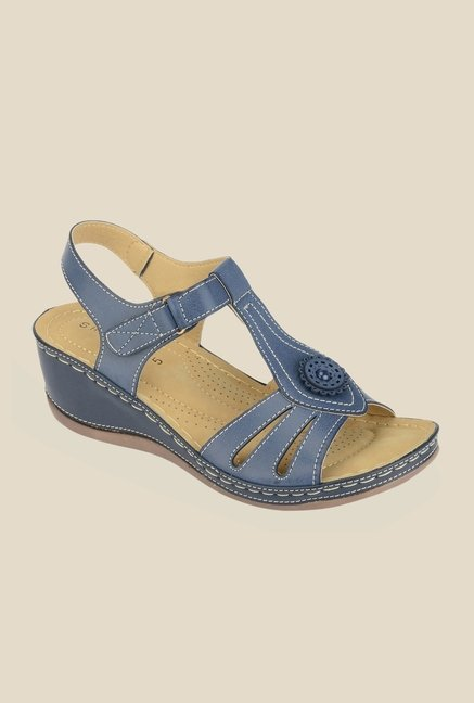 Khadim's Sharon Navy Ankle Strap Wedges