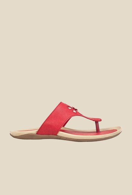Khadim's Sharon Red T-Strap Sandals