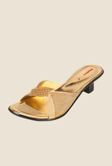 Khadim's Gold Block Heel Sandals
