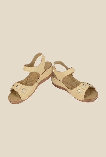 Khadim's Sharon Beige Ankle Strap Wedges