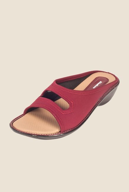 Khadim's Maroon Slide Wedges