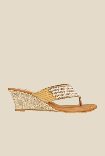 Khadim's Gold Wedge Heeled Sandals