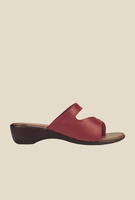 Khadim's Burgundy Wedge Sandals