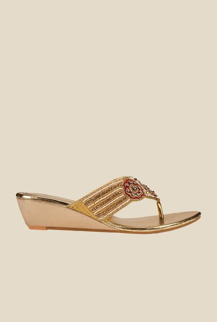 Khadim's Golden Wedge Heeled Sandals