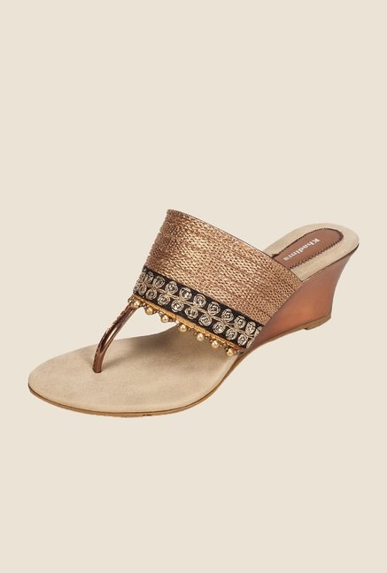 Khadim's Gold & Black T-Strap Wedges