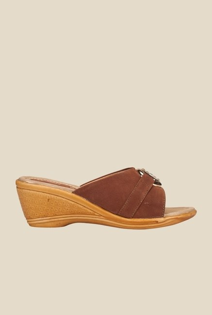 Khadim's Brown Wedge Heeled Sandals
