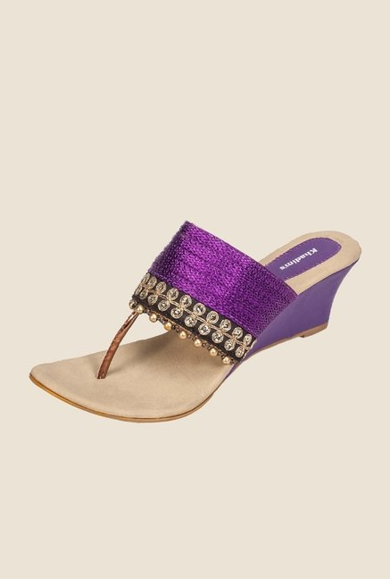 Khadim's Purple & Gold T-Strap Wedges