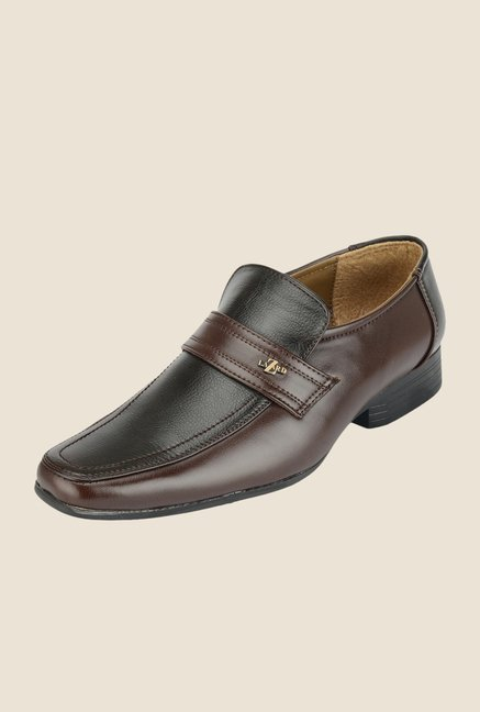 Khadim's Lazard Black & Brown Casual Slip-Ons