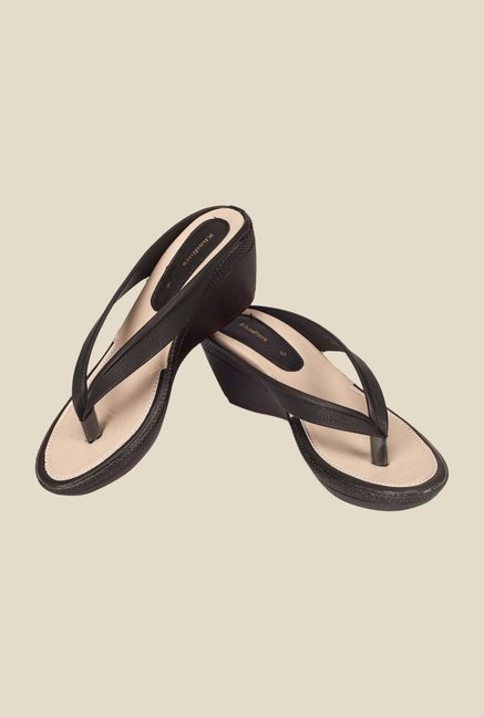 Khadim's Black Wedge Heeled Sandals