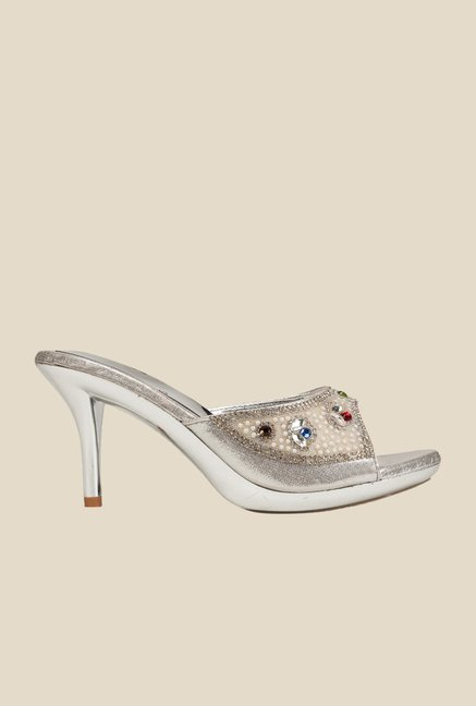 Khadim's Silver Stiletto Sandals