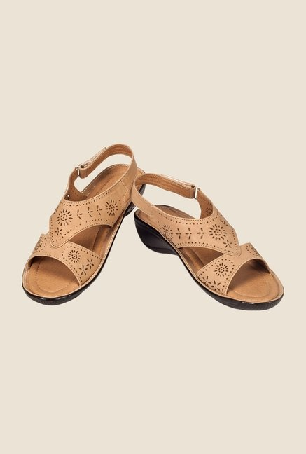 Khadim's Beige Back Strap Wedges