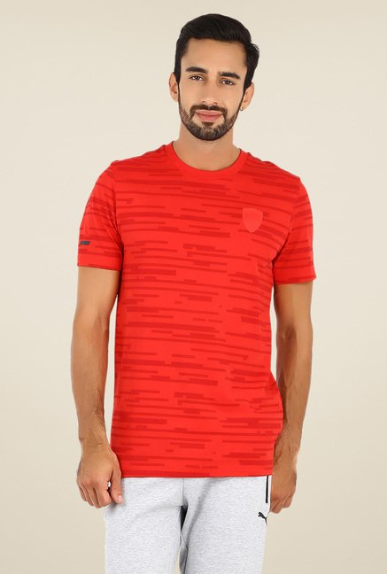 Puma Red Self Print T Shirt