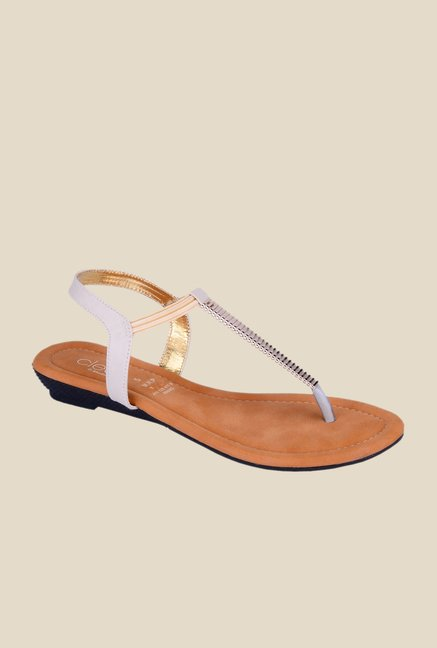Khadim's Cleo White Sling Back Sandals
