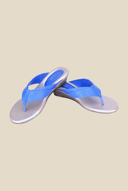 Khadim's Sharon Blue Wedge Sandals