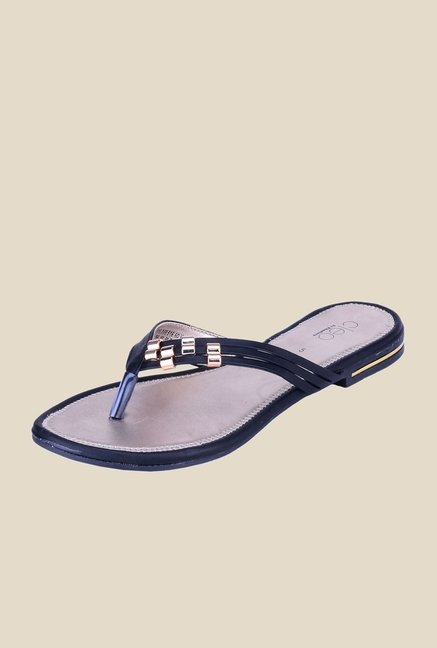 Khadim's Cleo Black & Gold Thong Sandals