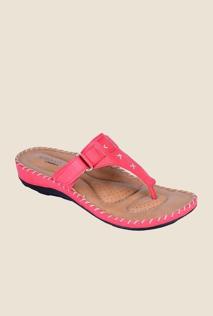 Khadim's Softouch Pink T-Strap Sandals