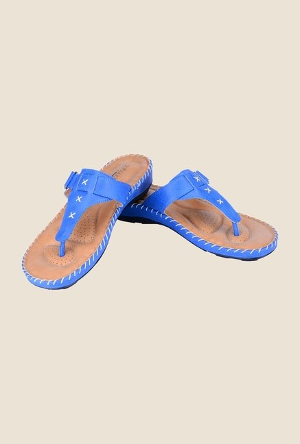 Khadim's Softouch Blue T-Strap Sandals