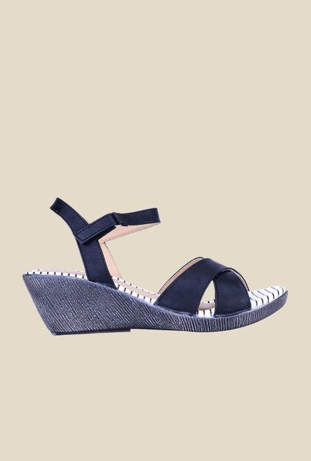 Khadim's Sharon Black Back Strap Wedges