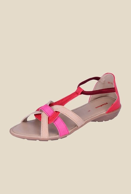 Khadim's Beige & Red Casual Sandals
