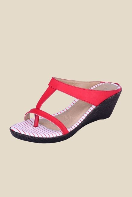 Khadim's Sharon Red T-Strap Wedges