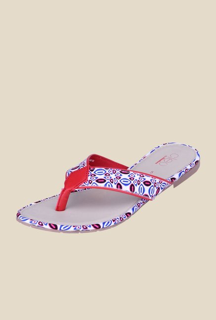 Khadim's Cleo Red & White Thong Sandals
