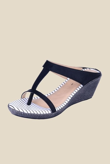 Khadim's Sharon Black T-Strap Wedges