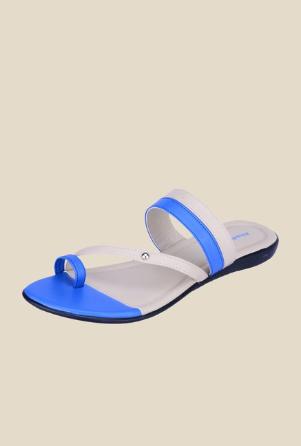 Khadim's Blue & White Toe Ring Sandals