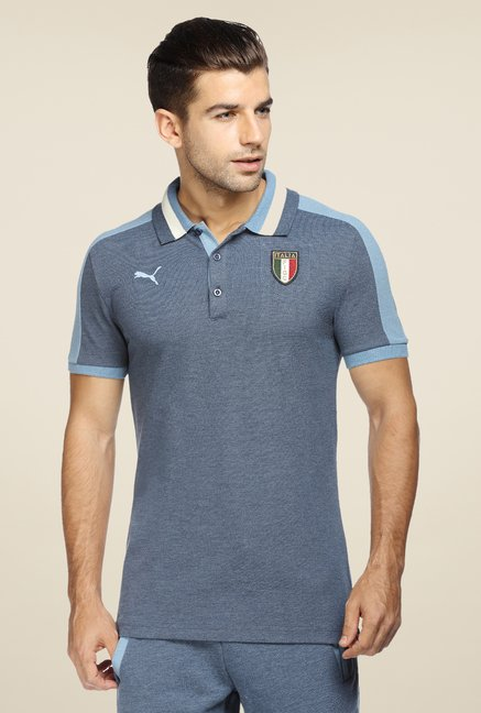 Puma Blue Logo Print Polo T Shirt