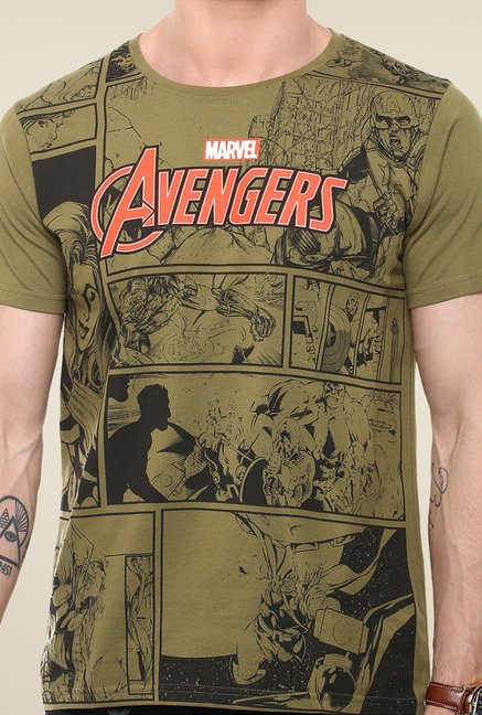 Yepme Marvel & Disney Olive Graphic Printed Cotton T Shirt