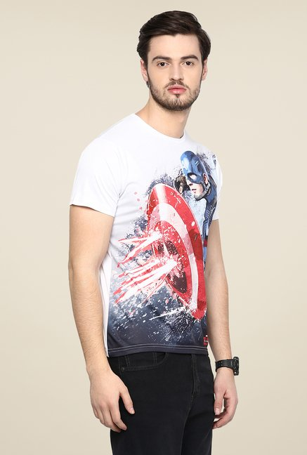 Yepme CA Bullet Proof White Graphic Printed T Shirt
