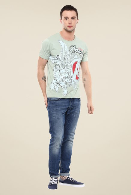 Yepme Marvel & Disney Green Graphic Printed Round neck T Shirt