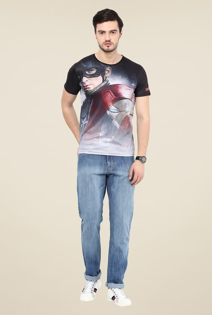 Yepme Captain America Black Graphic Printed T Shirt