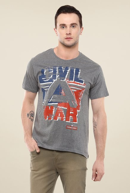 Yepme Marvel Civil War Grey Graphic Printed Round neck T Shirt