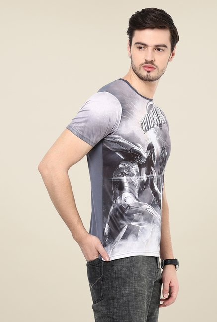 Yepme IM VS CA Grey Graphic Printed T Shirt