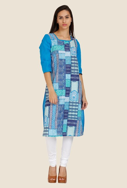 Aurelia Blue Printed Square Neck Kurta
