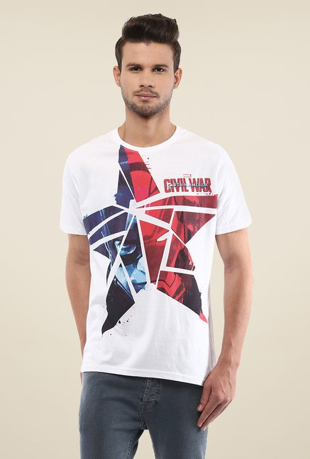 Yepme Marvel Civil War White Graphic Printed T Shirt