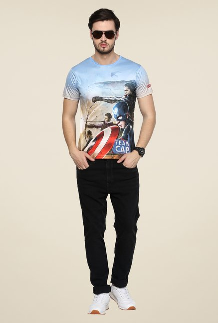 Yepme Team Cap Blue Graphic Printed T Shirt