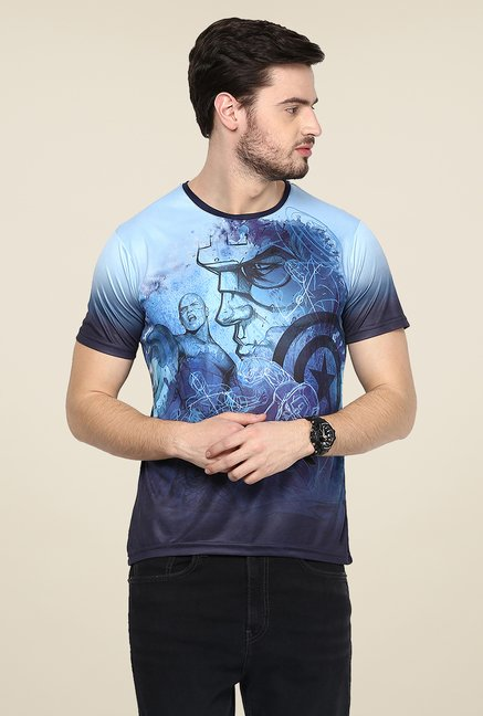 Yepme Avengers Line Art Blue Graphic Printed T Shirt
